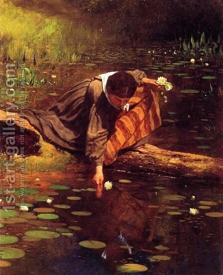 Gathering Lilies by Eastman Johnson - Reproduction Oil Painting