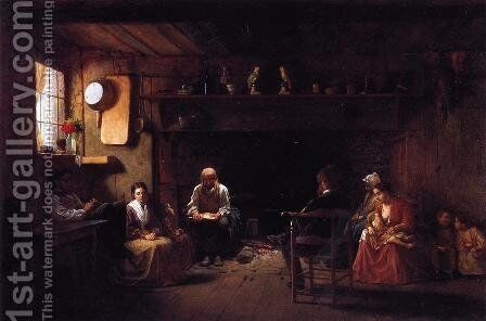 Sunday Morning by Eastman Johnson - Reproduction Oil Painting