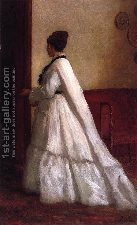 Woman in a White Dress by Eastman Johnson - Reproduction Oil Painting