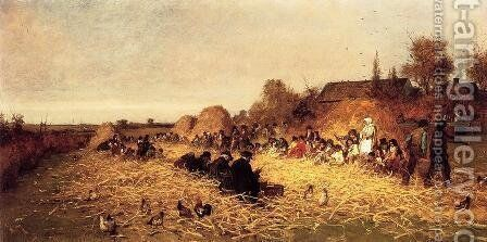 Husking Bee, Island of Nantucket by Eastman Johnson - Reproduction Oil Painting
