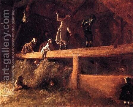 In the Hayloft by Eastman Johnson - Reproduction Oil Painting