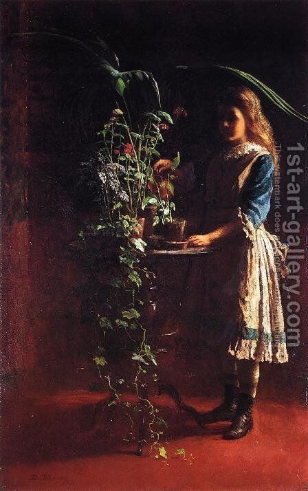 Watering Flowers by Eastman Johnson - Reproduction Oil Painting