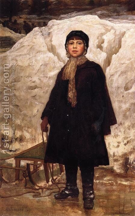 Winter, Portrait of a Child by Eastman Johnson - Reproduction Oil Painting
