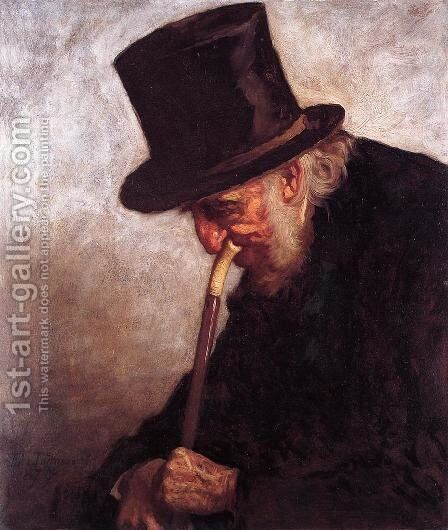 Portrait of Captain Charles Myrick (Study for 'Embers') by Eastman Johnson - Reproduction Oil Painting