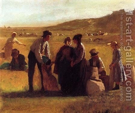 Cranberry Pickers by Eastman Johnson - Reproduction Oil Painting