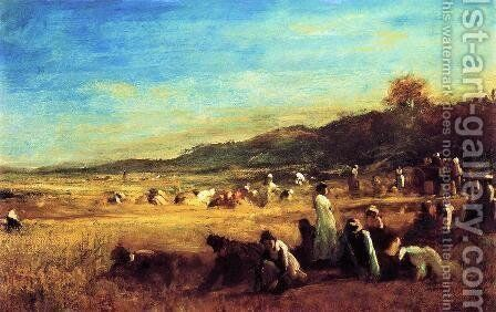 Study for 'The Cranberry Harvest, Island of Nantucket' by Eastman Johnson - Reproduction Oil Painting