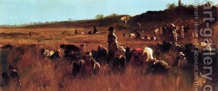 Cranberry Pickers, Nantucket by Eastman Johnson - Reproduction Oil Painting