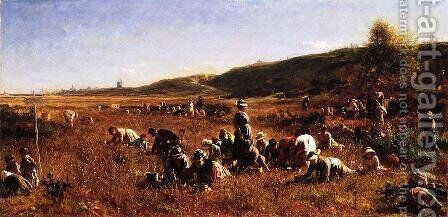 The Cranberry Harvest, Island of Nantucket by Eastman Johnson - Reproduction Oil Painting