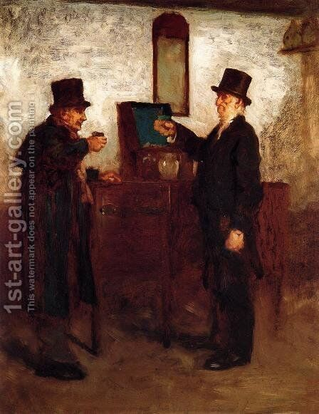Study for 'A Glass with the Squire' by Eastman Johnson - Reproduction Oil Painting