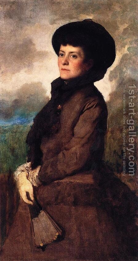 Ethel Eastman Johnson Conkling with Fan by Eastman Johnson - Reproduction Oil Painting