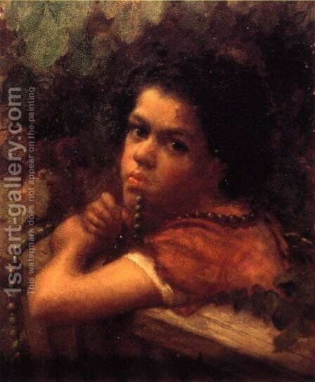Hannah amidst the Vines by Eastman Johnson - Reproduction Oil Painting