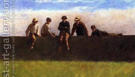 Five Boys on a Wall by Eastman Johnson - Reproduction Oil Painting