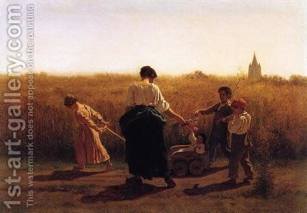 Copy after Jules Breton's 'Le Depart les Champs' by Eastman Johnson - Reproduction Oil Painting