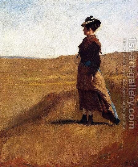 Woman on a Hill by Eastman Johnson - Reproduction Oil Painting