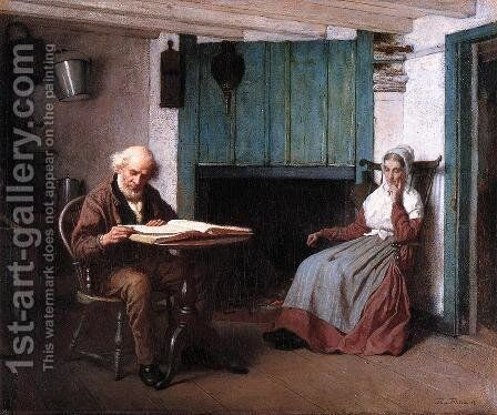 Thy Word is a Lamp unto My Feet and a Light unto My Path by Eastman Johnson - Reproduction Oil Painting