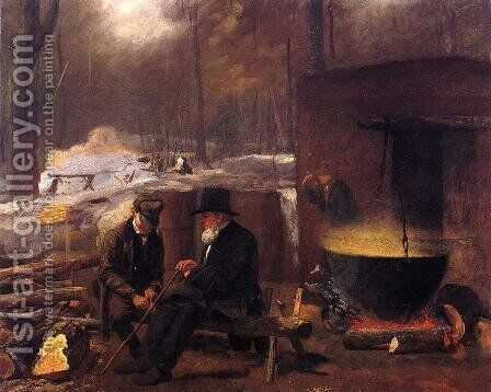 At the Camp, Spinning Yarns and Whittling by Eastman Johnson - Reproduction Oil Painting