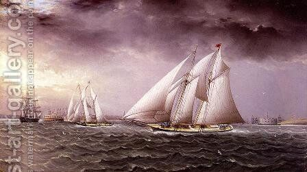 Schooner Race in New York Harbor by James E. Buttersworth - Reproduction Oil Painting