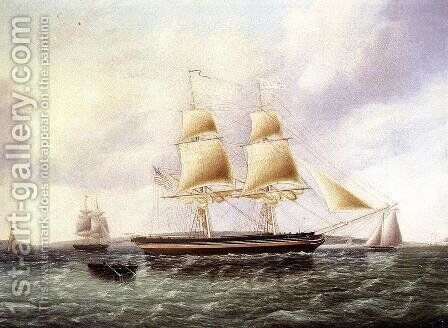 American Brig off New York by James E. Buttersworth - Reproduction Oil Painting