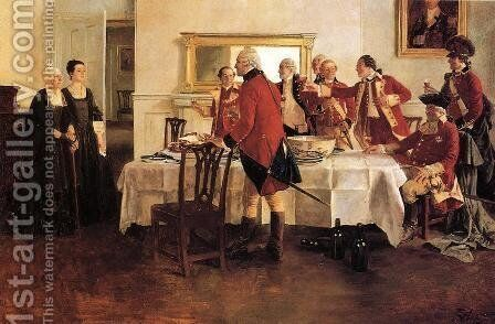 Red Coat Soldiers Toasting the Ladies of the House by Howard Pyle - Reproduction Oil Painting