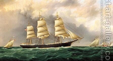 A Ship's Portrait near Sandy Hook by James E. Buttersworth - Reproduction Oil Painting