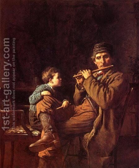 An Earnest Pupil by Eastman Johnson - Reproduction Oil Painting