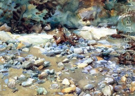 Purtud, Bed of a Glacier Torrent by Sargent - Reproduction Oil Painting