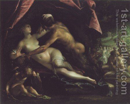 Pan und Selene by Hans Von Aachen - Reproduction Oil Painting