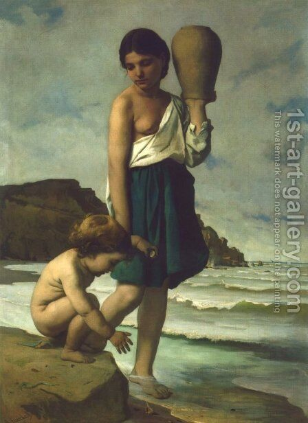 Kinder am Strande by Anselm Friedrich Feuerbach - Reproduction Oil Painting