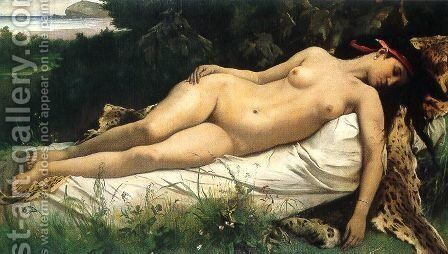 Ruhende Nymphe by Anselm Friedrich Feuerbach - Reproduction Oil Painting