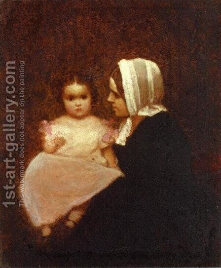 Mother and Child I by Eastman Johnson - Reproduction Oil Painting
