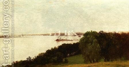 Newport Harbor and the Home of Ida Lewis by John Frederick Kensett - Reproduction Oil Painting