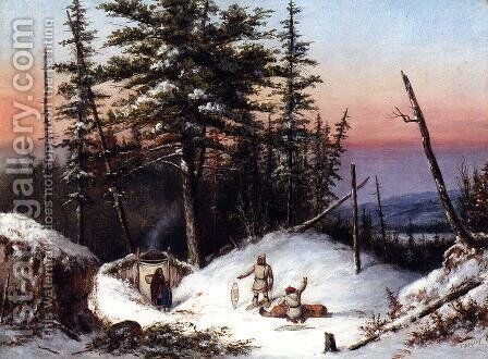 Trappers on the Frontier by Cornelius David Krieghoff - Reproduction Oil Painting