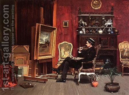Milne Ramsey in His Studio by Ella G. Wise - Reproduction Oil Painting