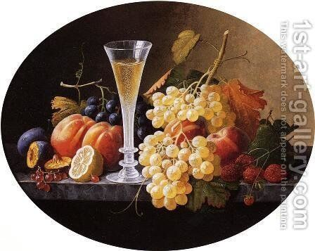 Still Life with Fruits and Wine Glass by Severin Roesen - Reproduction Oil Painting