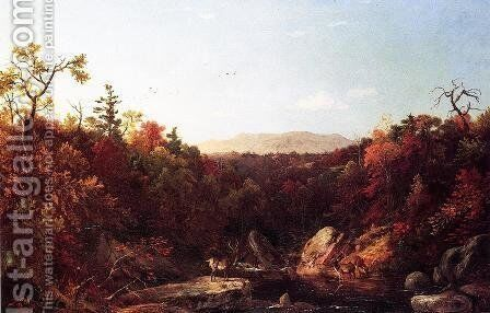 Deer by a Stream by Dewitt Clinton Boutelle - Reproduction Oil Painting