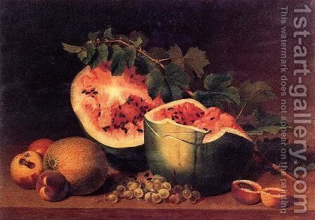 Still Life with Broken Watermelon by James Peale - Reproduction Oil Painting