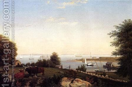 Gloucester from Brookbank by Fitz Hugh Lane - Reproduction Oil Painting
