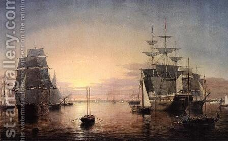 Boston Harbor at Sunset by Fitz Hugh Lane - Reproduction Oil Painting