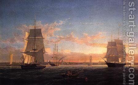 Boston Harbor at Sunser I by Fitz Hugh Lane - Reproduction Oil Painting