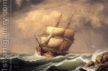 Merchant Brig under Reefed Topsails by Fitz Hugh Lane - Reproduction Oil Painting