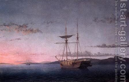 Lumber Schooners at Evening on Penobscot Bay by Fitz Hugh Lane - Reproduction Oil Painting