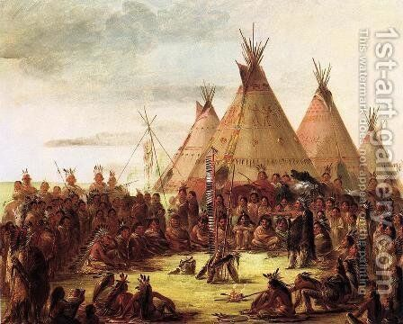 Sioux War Council by George Catlin - Reproduction Oil Painting