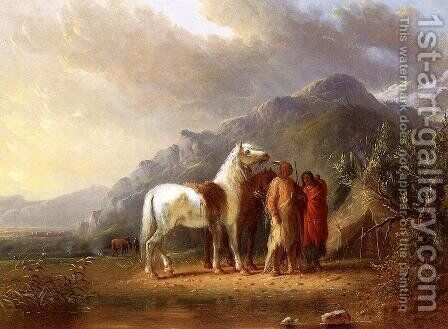 Sioux Camp by Alfred Jacob Miller - Reproduction Oil Painting