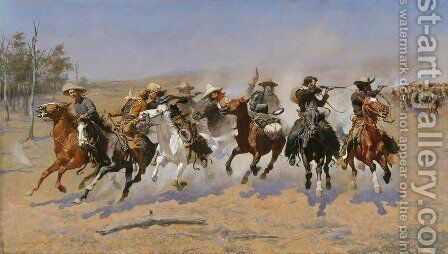 A Dash For The Timber Painting By Frederic Remington Reproduction