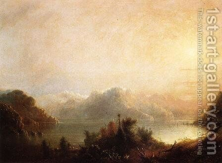 Mountain Lake by Alfred Jacob Miller - Reproduction Oil Painting