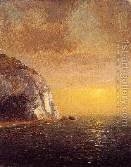 Rowing at Sunset by Jasper Francis Cropsey - Reproduction Oil Painting