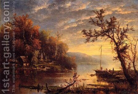 Autumn on the Hudson by Marie-Regis-Francois Gignoux - Reproduction Oil Painting