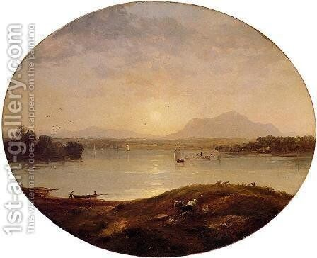View on the Hudson River by Jasper Francis Cropsey - Reproduction Oil Painting