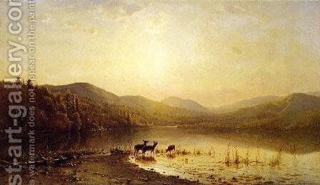 At the Water's Edge by James McDougal Hart - Reproduction Oil Painting
