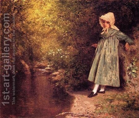 My Little Fisher Girl by Jervis McEntee - Reproduction Oil Painting